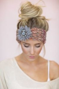 Top knot with headband accessory
