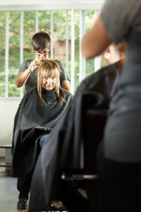 Salon Owner/Director Julie Peacocke transforming our clients hairstyle for the 10 Years Younger Series