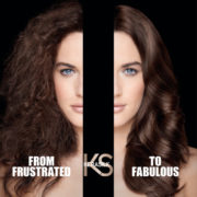 Before and after Kerasilk keratin treatment at Lily Jackson Hair and Makeup. Hair is very smooth.