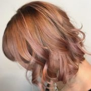 colour and cut by Nadine Behrendt at Lily Jackson Hair & Makeup. Rose gold balayage.