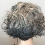 haircut by Nadine Behrendt grey curly hair cut in a bob hairstyle