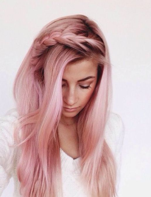 light pink rose gold hair