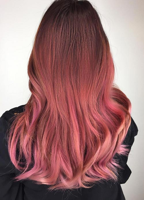 red rose gold hair