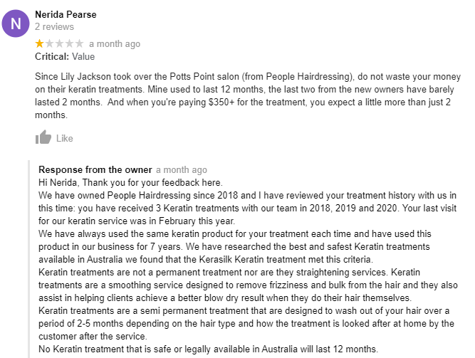 Screen shot of a 1 star review for Lily Jackson Hair & Makeup and the owner's response.